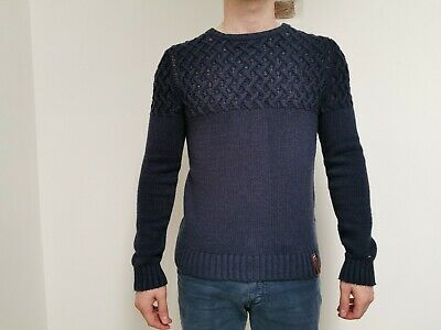 TOMMY HILFIGER Mens Crew Neck Knit Jumper | Chunky Cable Winter | Small S Blue