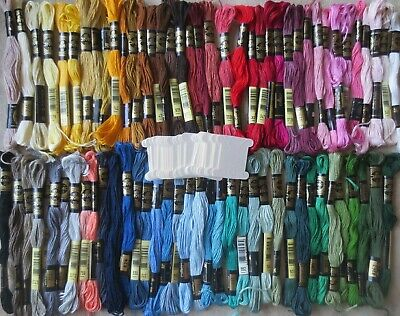 DMC 25 cotton 6-strand embroidery floss threads -lot 75 skeins 30 cards