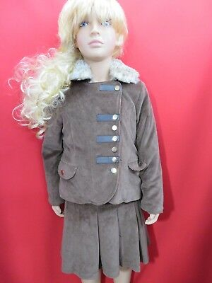 Girls Couche Tot brown jacket & skirt special occasion winter suit Age 7/8 years
