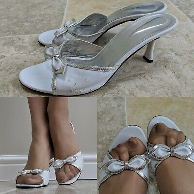 White Silver Well Worn Cute Style Peep Toe Bow High Heel Mule Sandals Size Uk 8