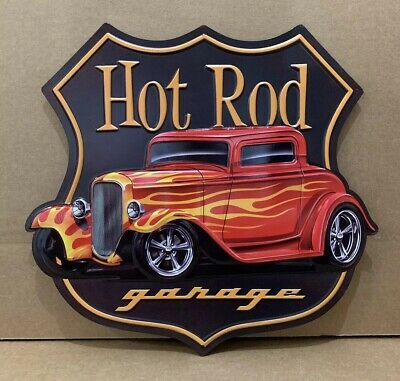 Hot Rod Garage Metal Decor Coupe Rat Rod Oil Gas Bar Ford Chevy Street Rim Tire