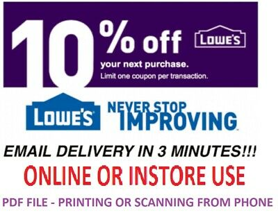 One 1x Lowes 10% OFF 1Coupon- InStore and Online -Fast-Email-Delivery-Exp 6/30