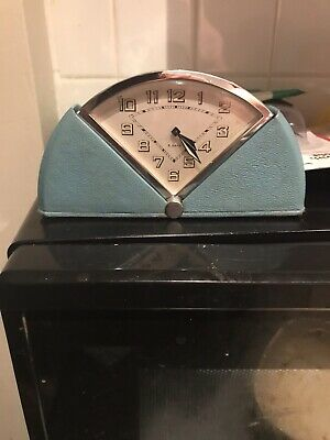 Rare Lovely Art Deco?/50's? 8 Day Travel Clock