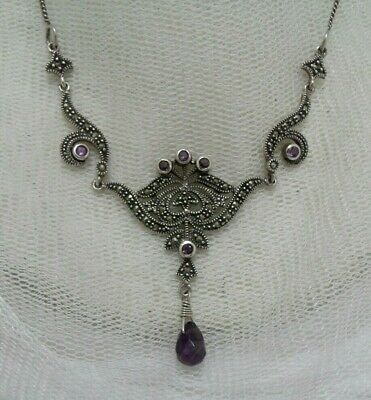 Victorian Design 925 Silver Amethyst & Marcasite Ornate Front Necklace.