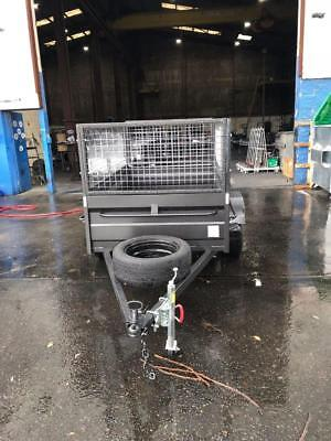 7x4high side box with trailer,600mm cage,spare wheel,jockey wheel and,1year rego