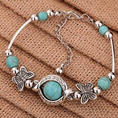 Tibetan 925 Silver Plated Bracelet Butterfly Turquoise Bead Bangle Adjustable