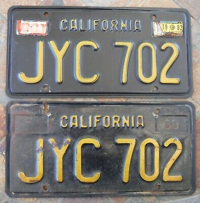 VINTAGE (1963) BLACK and Gold California license plate set