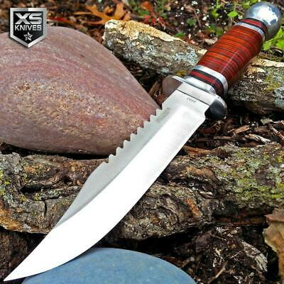 "10"" FIXED BLADE Survival CHERRY WOOD Hunting Bowie Knife Tactical + SHEATH"