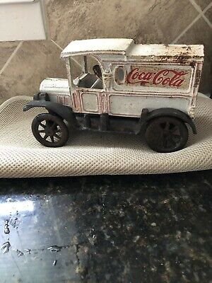 Vintage 1920s Cast Iron Coca Cola Delivery Truck with Rolling Wheels
