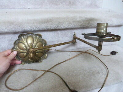 "ANTIQUE VINTAGE Ornate Folding Brass Arm Wall Electric Lamp Light 24"" Extended"