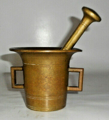 Vintage heavy Antique Solid Brass MORTAR and PESTLE