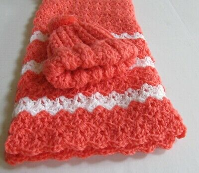 New Handmade Crochet Baby Blanket With Hat Coral With White Stripes