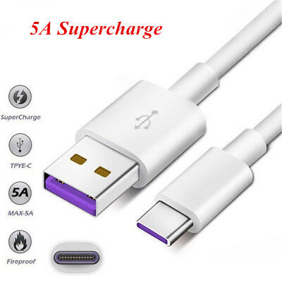 5A Super Fast USB-C Charging Cable USB 3.1 Type C Quick Charger Sync Data Wire