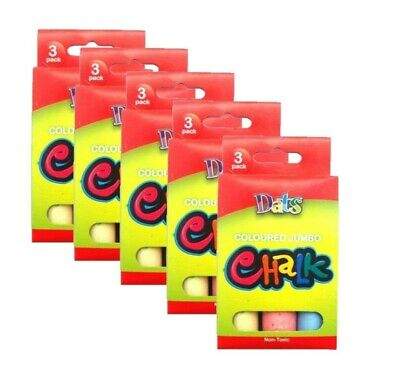 15 x Chalk Stick Bucket Jumbo Coloured Classic Art Craft Kid Chalk Sticks