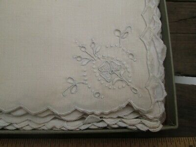 12 Vintage Madeira Embroidery Tea Lunch Napkins 2 Patterns White Orig Box 12""