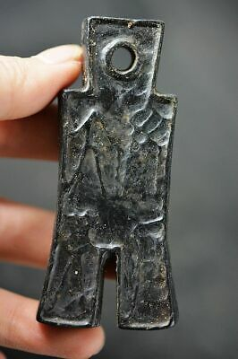 Chinese Hongshan Culture Magnet Jade Stone Carved Amulet Pendant    J2