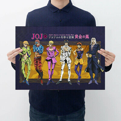 JoJo's Bizarre Adventure Gold Wind Paper Poster Japanese Anime Wall Decorations