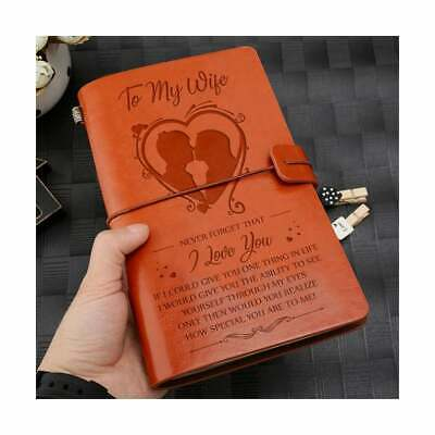 To My Wife I Love You from Husband Engraved Leather Journal Notebook Diary