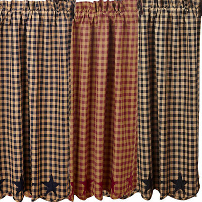 "Star and Check Scalloped Country Curtain Tiers Navy Black or Burgundy 24"" or 36"""