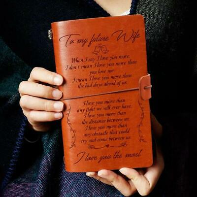To My Future Wife I Love You Fiance Engraved Leather Journal Notebook Diary