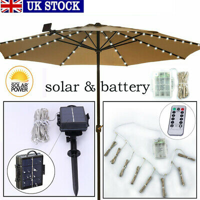 Solar/Battey Powered Umbrella Lights 104 LED Patio Parasol Outdoor Garden Light