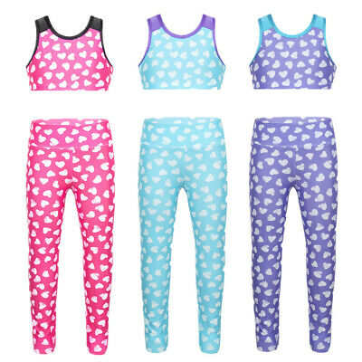 Girls Kid Two Piece Sport Outit Crop Top+Leggings Dancewear Athletic Clothes Set