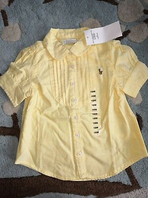 Ralph Lauren Baby Girls 18 months New Pintuck Bib Shirt Pastel Yellow