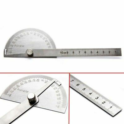 Rotary Measuring Ruler Stainless Steel 180 degree Protractor Angle Finder Arm