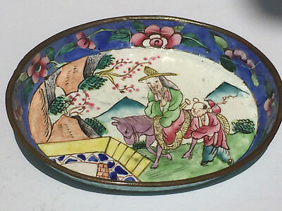 Vintage Chinese/Japanese Hand Painted Enamel Pin Tray/Dish Well Decorated Scene1