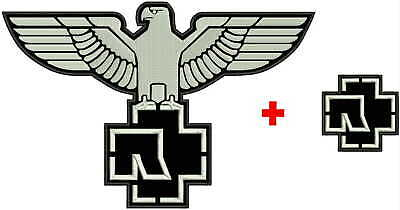 """13"""" + 3"""" RAMMSTEIN eagle embroidered patch *** 330mm BACK + 80mm FRONT patch"""
