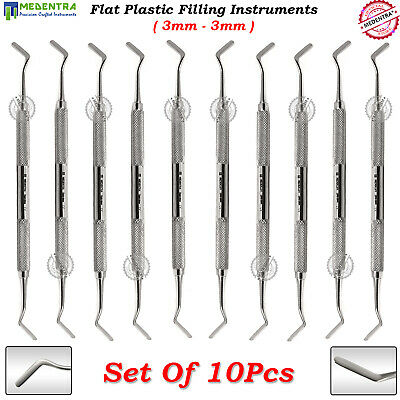 10Pcs Composite Instruments Dental Flat Plastic Filling Spatula Double Ended 3mm