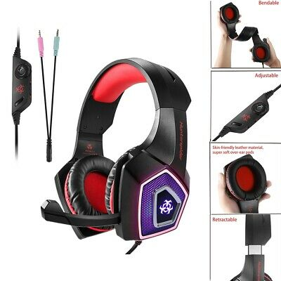 3.5mm LED Stereo Gaming Chat Headset MIC Headphones for PS4 PC Laptop Xbox One
