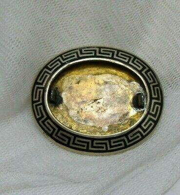 Victorian Gold Filled Plated Colour Black Enamel Large Brooch Pin.  To Restore