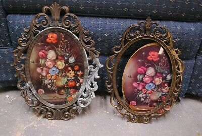2 VTG Antique Brass Metal Oval Picture Frames Convex Glass Pictures Patina Wear