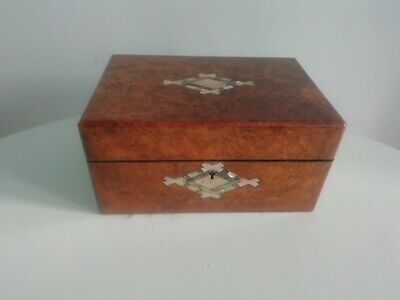 Antique Victorian Burr Walnut  & Mother Of Pearl Inlaid Jewellery Box