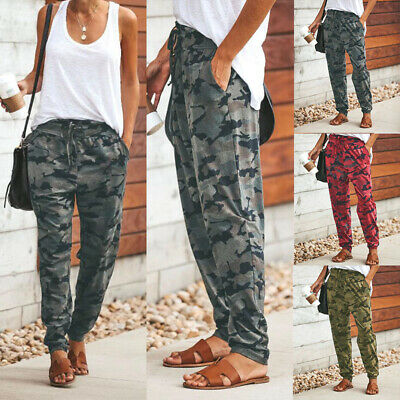 Women Camouflage Joggers Trousers Ladies Casual Camo Cargo Harem Pants Tracksuit