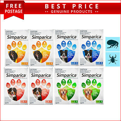 SIMPARICA All Sizes Flea and Tick Prevention for Dogs 12 Doses by Zoetis