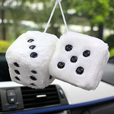 Novelty Fuzzy Fluffy Dice Car Mirror Hanging Accessory Gift Home Decor AU