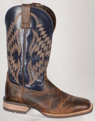 96595ad2ec3 ARIAT TYCOON BAR Top Brown Blue Broad Square Toe 12 D Western Boot ...