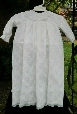 Vintage Christening Baptism Gown White Lace Preloved Baby 0-3 months No Brand