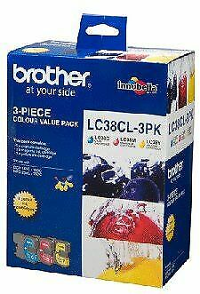 Brother LC-38 Colour Value Pack- 1X Cyan 1X Magenta 1X Yellow