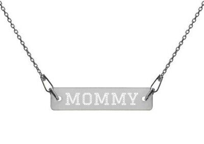 """MOMMY 16"""" Engraved Sterling Silver 925 Bar Chain Jewellery Necklace w gift box"""