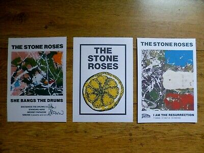 The Stone Roses Poster Set Of 3 Ian Brown Album Covers Lemon A4 Free P&P
