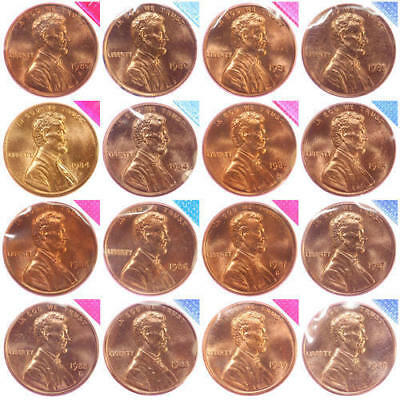 1980-1981 1984-1989 P D Lincoln Memorial Cent Mint Cello Set BU Run 16 US Coin