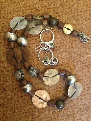 Job Lot vintage brown statement necklace earrings jewellery 80S signed chico