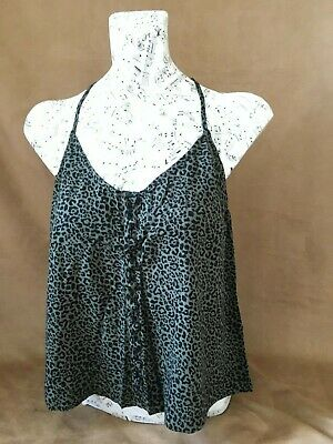New Ladies / Girls Hollister  Olive Leopard Print Tiefront Tank Top. Size S.