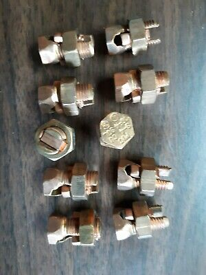 Lot of 10 Allied 853 Copper Split Bolt Connectors UL Listed 4 sol To 8 sol