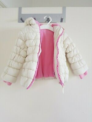 Girls Mothercare Padded Hooded Jacket Coat Size 12/18 Months Excellent condition