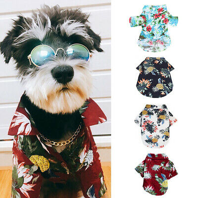 Pet Dog Shirt Beach Clothing Vest Floral Printed Top For Small Large Dogs