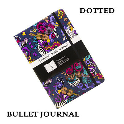 Dot Grid Music Hard Cover A5 PU  Notebook Dotted Bullet Journal Bujo